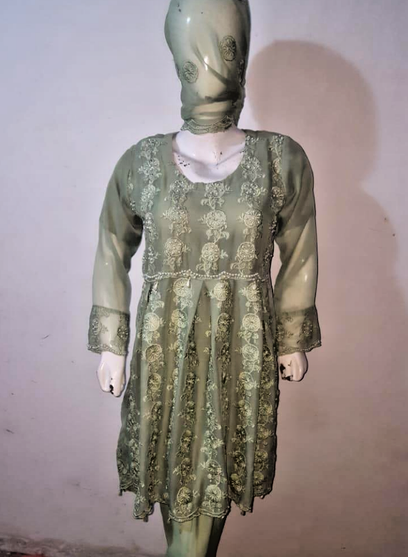 embroidered Chiffon Stitched Suit frock Pakistani Indian Party Wear new 2020