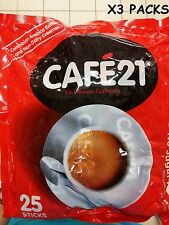 CAFE 21 2 IN 1 WHITE COLOMBIAN ARABICA INSTANT COFFEEMIX x 3 PACKS (75 STICKS)