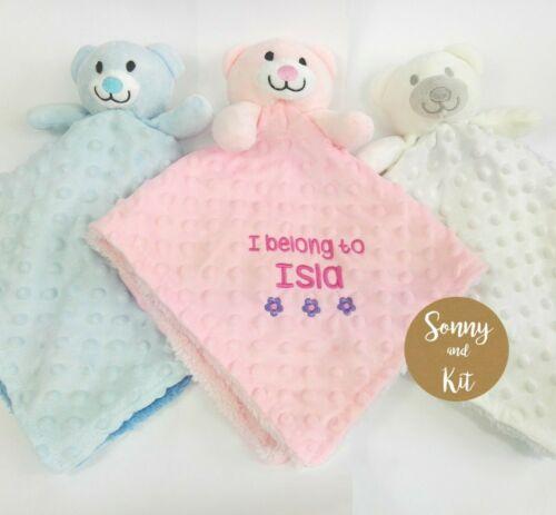 Christening Gift Boy Girl Personalised Baby Teddy Bear  Comforter Blanket