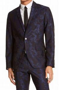 INC Mens Blazer Blue Black Small S Slim Fit Floral Jacquard Two Button $129 178