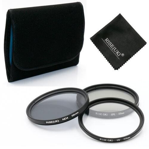 ND4 Kit de Filtro de Lente de 58MM UV CPL Para Canon Eos Rebel T7i T6i T6 T5i T5 T4i T3i