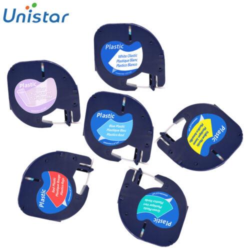 Compatible Dymo LetraTag Plastic Label Tape 91201 12267 91205 Multi-colour 6PK