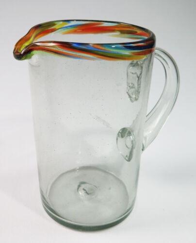 hand blown Mexican Glass Pitcher straight design 1.75 quarts confetti rim