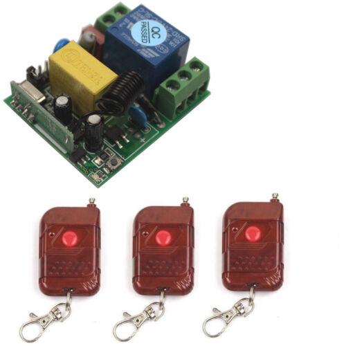 220V 10A Wireless Switch Relay 1CH 433//315MHz 1//2//3 Transmitter Light Lamp Kits