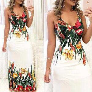 Women-039-s-Mini-Boho-Floral-Summer-Beach-Long-Skirt-Evening-Cocktail-Party-Dress