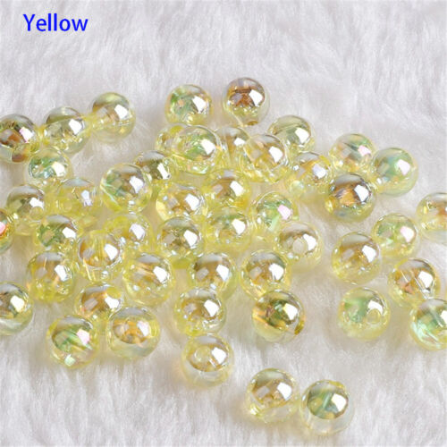 50pcs//Set 8mm AB Color Round Acrylic Beads with Hole For DIY Jewelry Making Top