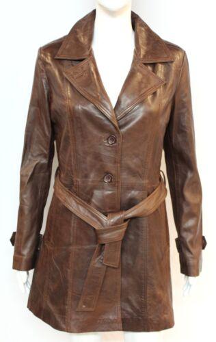 TRENCH Ladies Woman Brown Mid Length Luxury Designer Soft Premium Leather Coat