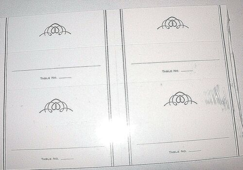 40 White Table Place Cards NIP Guest Seating Number Tent Party Wedding Placecard