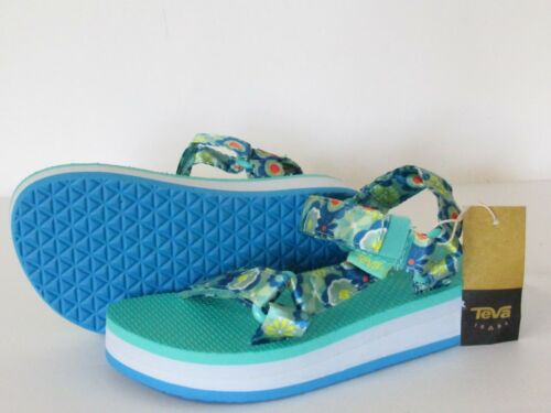 TEVA Sandals Green Floral Sateen Double Adjustable Strap Youth Girls size 3 new