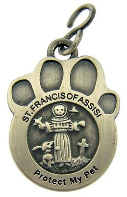 Patron Of Animals St Saint Francis Protect My Pet Dog Cat Leash Medal Charm NR
