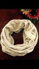 Lucky Brand Beige With Metallic Gold Stitching Infinity Scarf One Size NWT