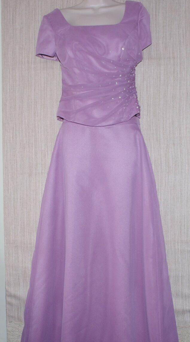 BONNY lila Rosa Short FORMAL BEADED DRESS SET GOWN 2 PIECE Größe 10 (fit 6)