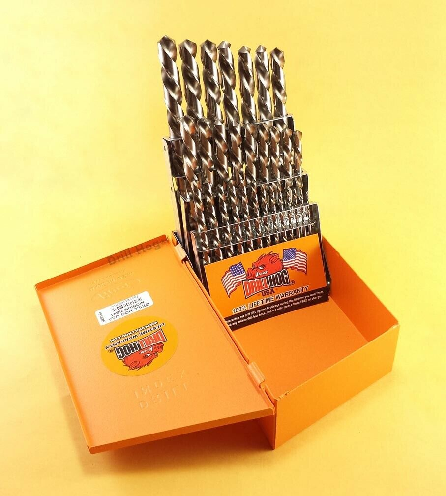 Drill Hog® 29 Pc Left Hand Drill Bit Set Reverse Orange Nb41+ Lifetime  Warranty