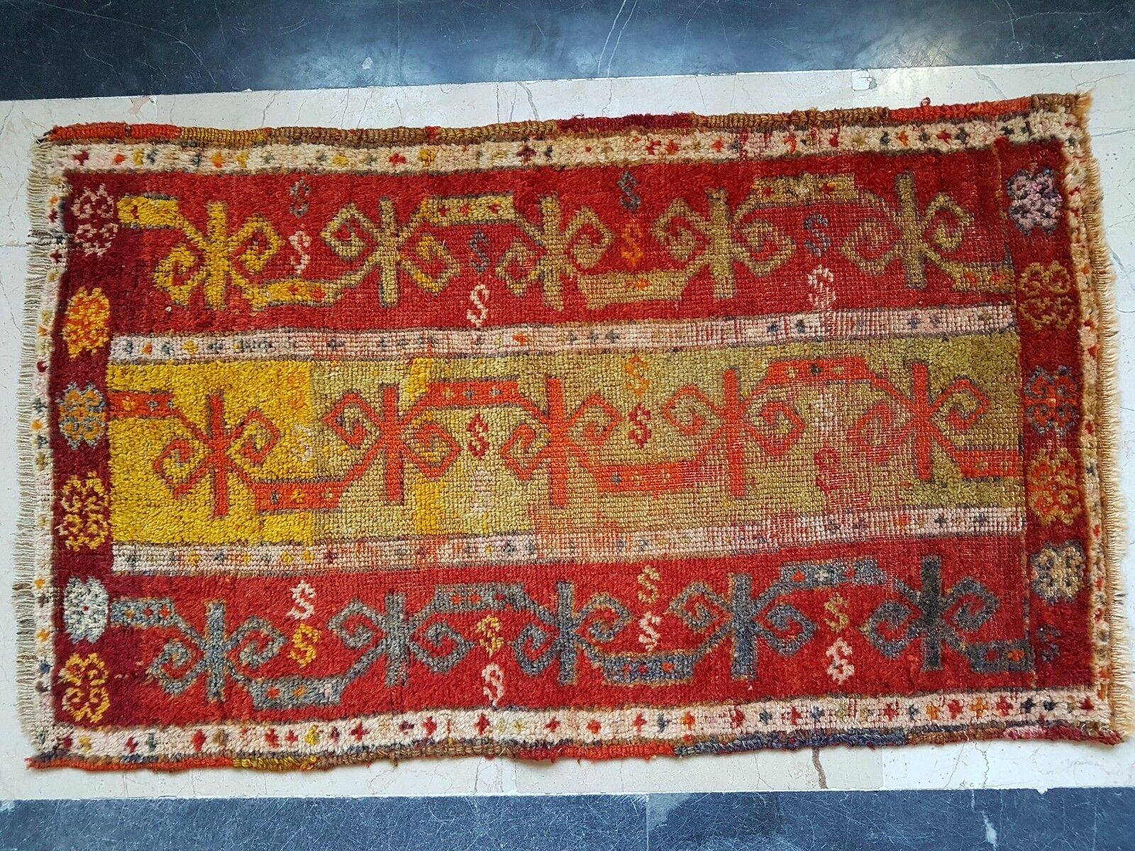 Handmade Handmade Handmade Antique Collectible Anatolian Turkish Yastik Rug 1.8x3.1 ft. (56x95 cm) 0969d3