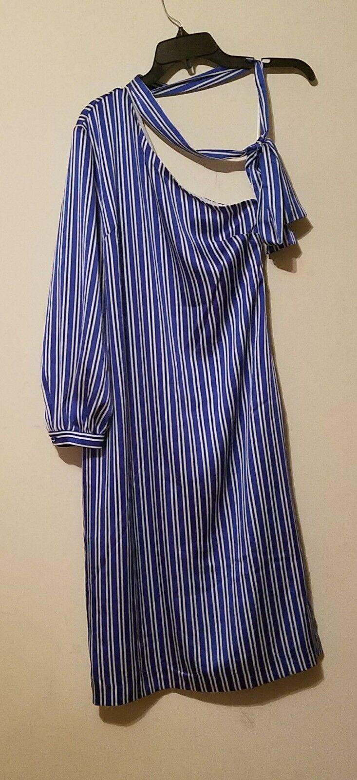 NWT Banana Republic One-Shoulder Stripe Bow Neck Cocktail Party Dress Blau Sz 0