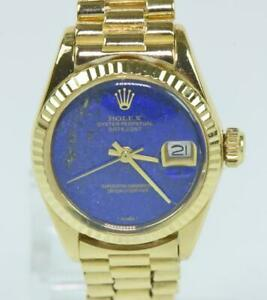 ROLEX-Oyster-Perpetual-Lady-Datejust-18-750-Gold-automatic-Lapis-Dial-Ref-6917