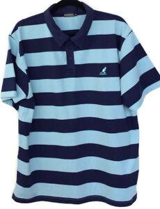 Kangol-Mens-Blue-UK-XL-Stripe-Polo-Shirt-Size-Short-Sleeve-Collared-Polo-Quality