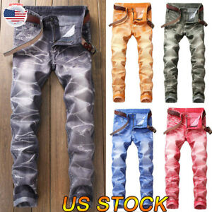 Mens-Designer-Stretch-Super-Skinny-Denim-Pants-Trousers-Jeans-Ripped-Biker-USA