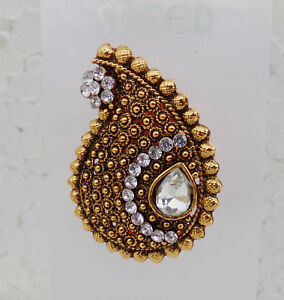 Details about Indian Party Wear Pearl Saree Pin / Sari pin /Brooch Ethnic  Golden /CZ Stone j19