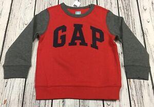 Baby-Gap-Boys-4-4T-Red-amp-Gray-GAP-Logo-Sweatshirt-Nwt