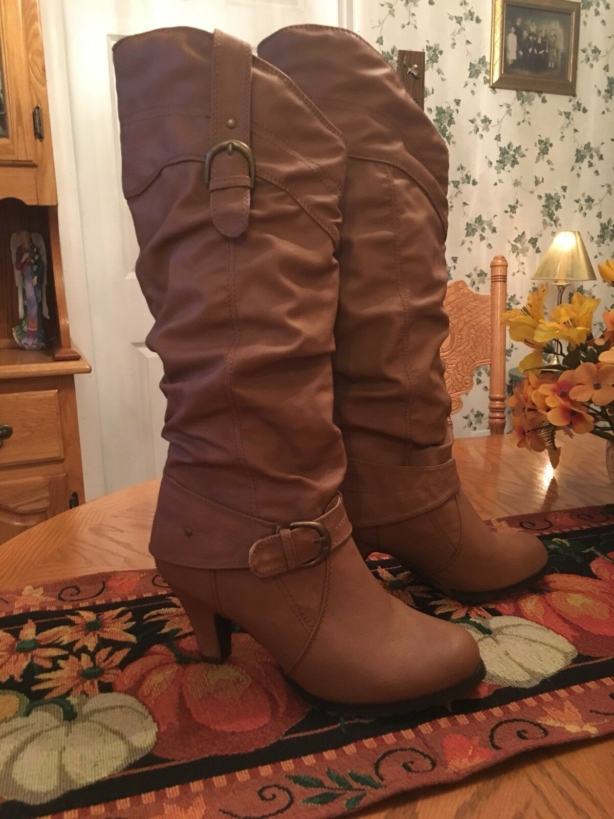 Rue 21 Knee High Caramel Brown Heeled Boots 7 8