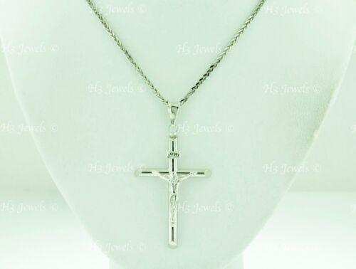 14k Solid or Blanc Jésus-Christ Pendentif Croix #8327 H 3 Jewel 1.80 g crucifix