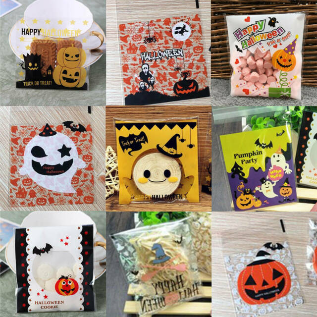 100Pcs Plastic Halloween Cellophane Cookie Candy Bags Party Gift Packaging