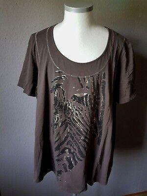 Ulla Popken Creme farbenes Shirt mit Blumenstickerei Gr.46//48-58//60