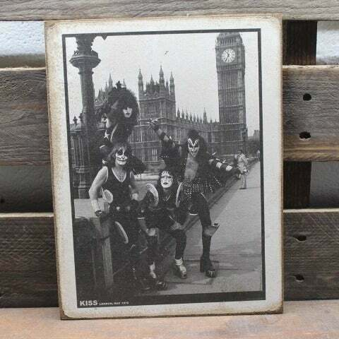 """Details about  /11/"""" KISS Gene Simmons 1976 London wood sign pop ART Wood Vtg style Sign"""