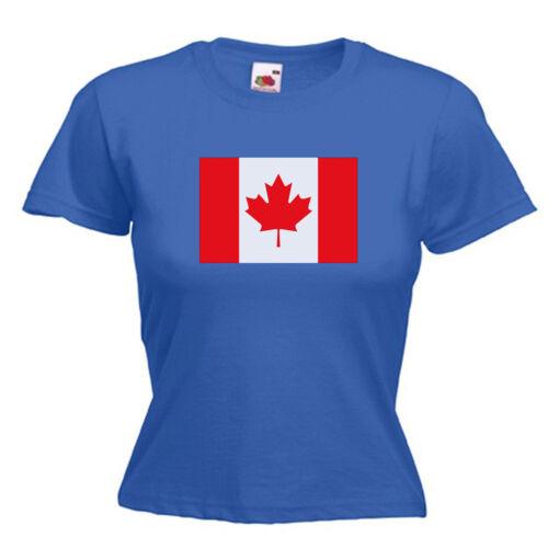 Canada Flag Ladies Lady Fit T Shirt 13 Colours Size 6-16