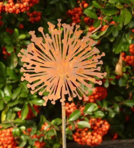 Edelrost Gartenstecker Pusteblume Metall Gartenstab Rankstab Beetstecker