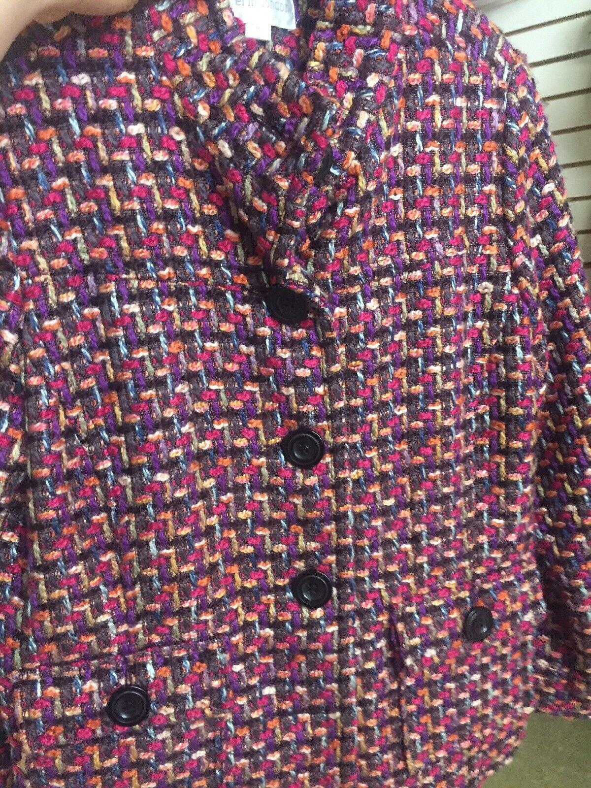 Erin London Multi Color Woven Womens Pea Coat Siz… - image 2