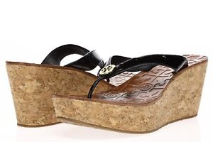 088610fe6341f TORY BURCH Womens  Thora  Black Patent Leather Wedge Thong Sandals ...