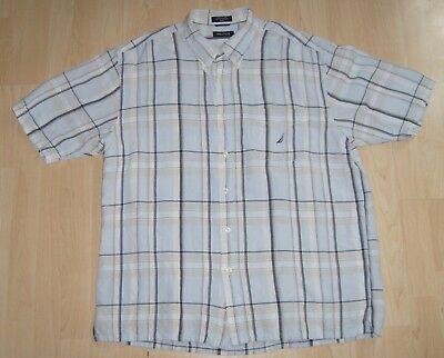 Nautica Mens Plaid Linen Blend Short Sleeve Pocket Shirt
