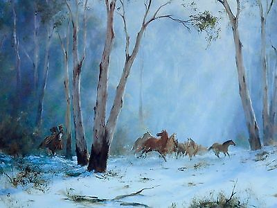 Kevin Best / Brumby Roundup / Wild Horses in the Snow / Original Art Print.