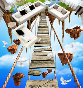 3D Puente Cielo Cliff 708 Impresión De Parojo Murales Papel de parojo de piso AJ Wallpaper Reino Unido Limón