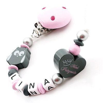 Schnullerkette mit Namen ♥ Baby Mädchen ♥ Eule grau rosa Nuckelkette Geschenk