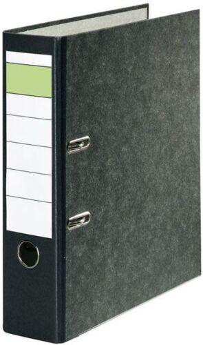 10 x Ordner 80mm grüner Balken neutral A4 breit mit Griffloch und Kantenschutz