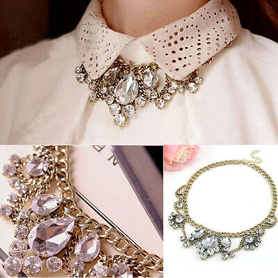 Flower Clear Crystal Jewelry Chunky Pendant Chain Statement Bib Choker Necklace