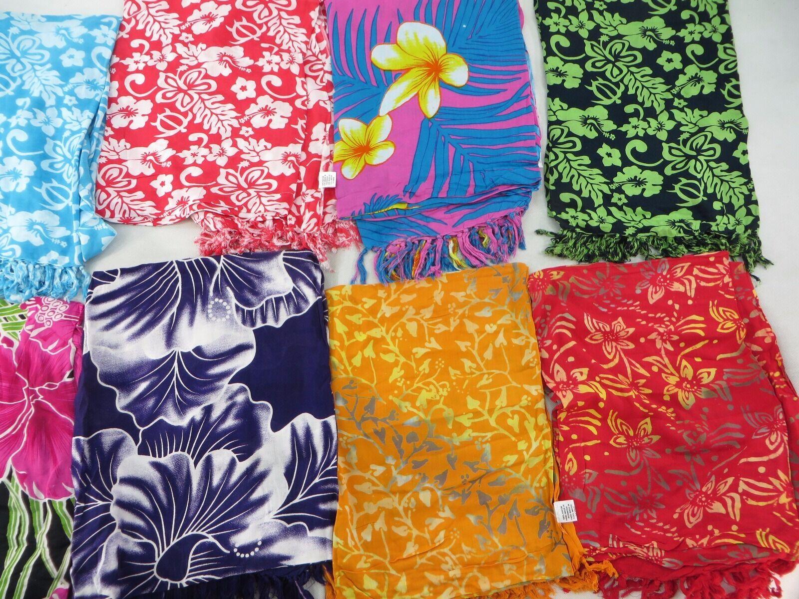 US SELLERLot of 10 hibiscus flower sarong swimsuit coverups pareo Hawaii Aloha