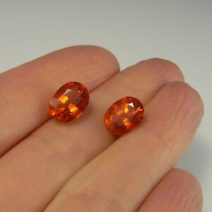 9-65ctw-FANTA-GARNET-Neon-Orange-Spessartite-Spessartine-Oval-Cut-PAIR-Earrings