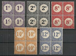 Straits Settlements 1924 SG D1-D6 without D3 Blocs of 4 MLH VF