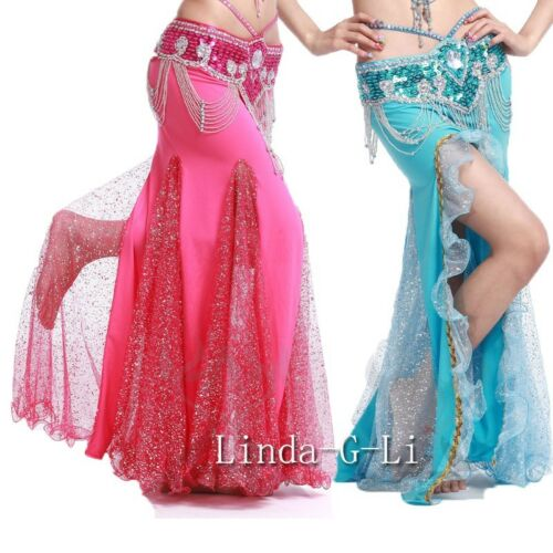 New One side slit with Gold sequins Long Belly Dance Skirt  7 Colors choices 1//1