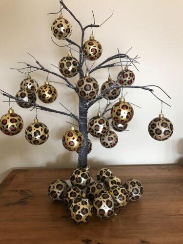 Animal print Christmas Weddings Decorations. Baubles Leopard Print