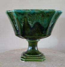 Lovely Vintage INARCO dark green glaze footed planter/vase Japan Great condition