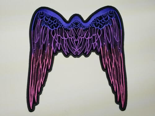LARGE PURPLE PINK ANGEL WINGS GUN Biker back Patch Sew Iron on Vest Back ol lady