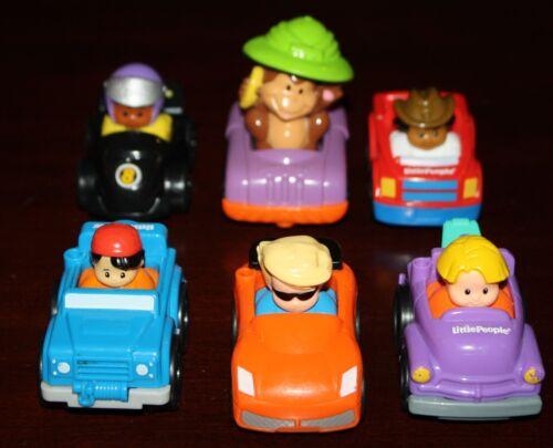 Lot of 6 Little People Wheelies Race Car Monkey W banana Cowboy Tow Truck Set 1
