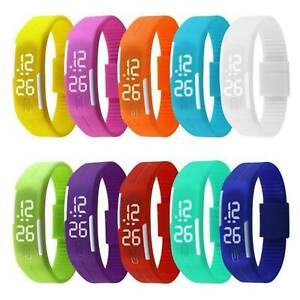 Silicone-Digital-LED-Waterproof-Sport-Wrist-Watch-Boys-Girls-Kids-Children-HOT