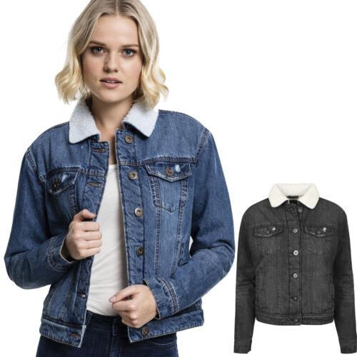 Urban Classics Damen Sherpa Denim Jeans Jacke Jeansjacke Fellkragen Fell Frauen