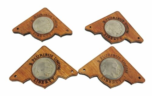 4pc. Indian Head Nickel Mahogany Box Corners with authentic vintage US Coins